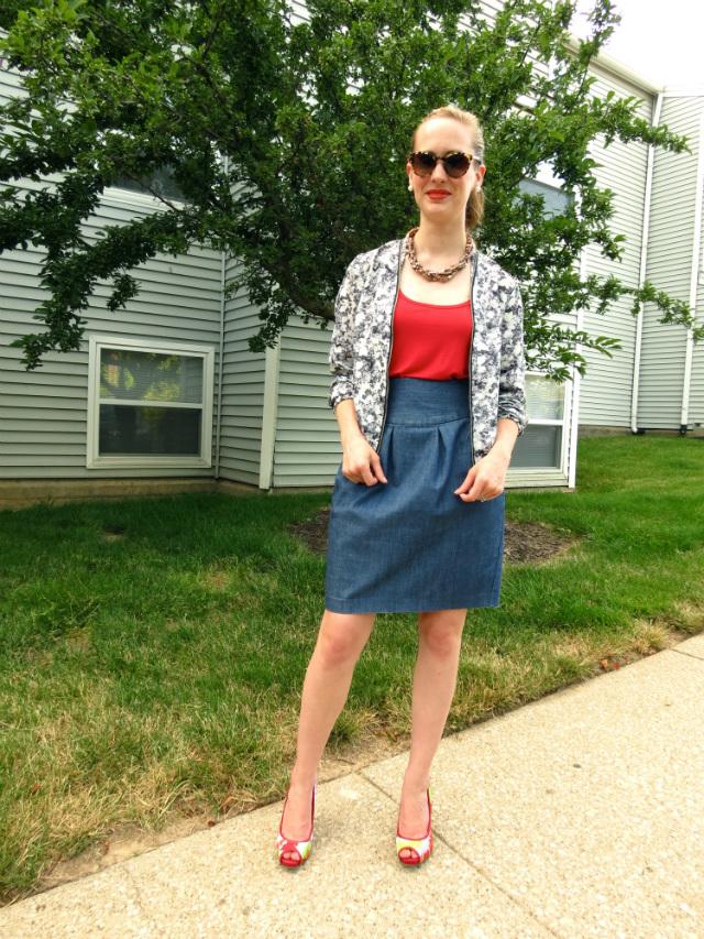 jean skirt, florals