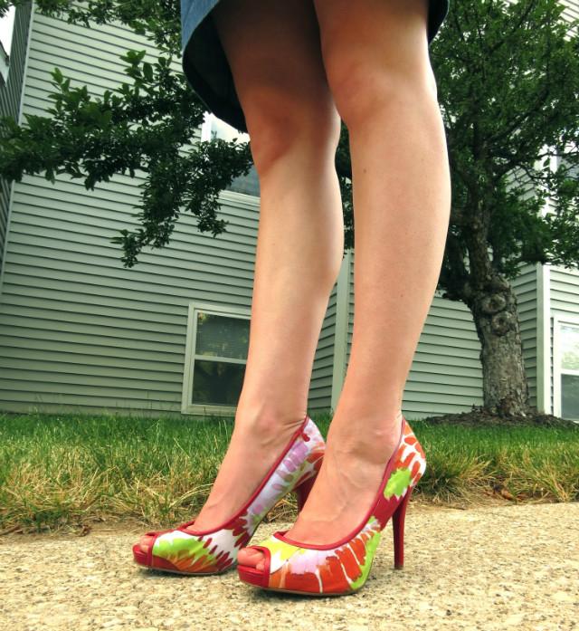 floral heels, Nine West