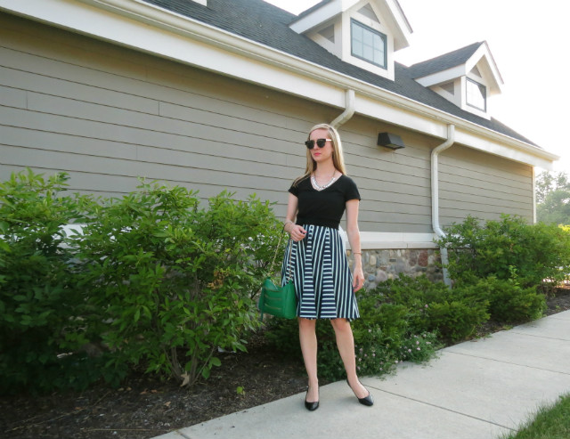 Nine West wedges, t-shirt over dress, a-line dress, knotted t-shirt, Rebecca Minkoff inspired bag