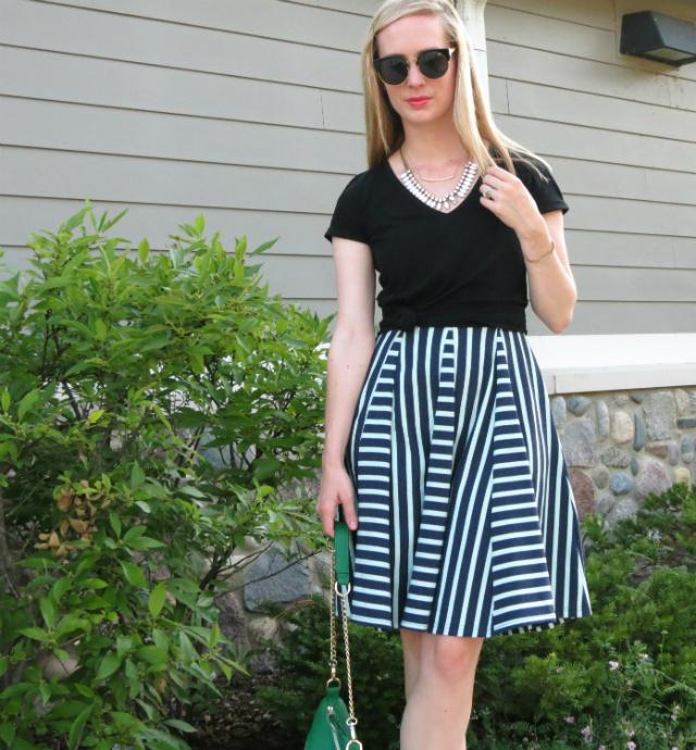 t-shirt over dress, a-line dress, knotted t-shirt