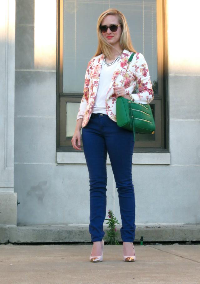 Lauren Conrad floral blazer, blue skinny jeans, Anne Klein cap toe pumps, Rebecca Minkoff inspired bag