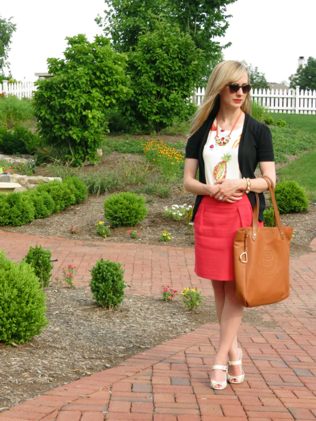 Indianapolis fashion style blog, Madewell fruit tee, business casual outfit