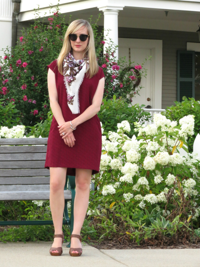 loft shift dress, polka dot and floral, summer scarf, Oasap sunglasses