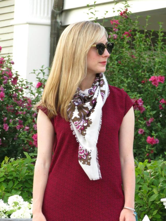 loft shift dress, polka dot and floral, summer scarf, Oasap sunglasses