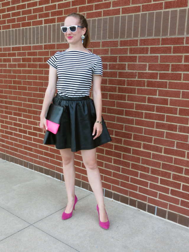 80s fashion, h&m leather skirt, kate spade saturday t-shirt, sole society pink pumps