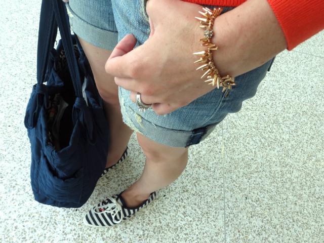 h&m shop online sweater, kut from the kloth boyfriend shorts, renegade cluster bracelet, kate spade keds