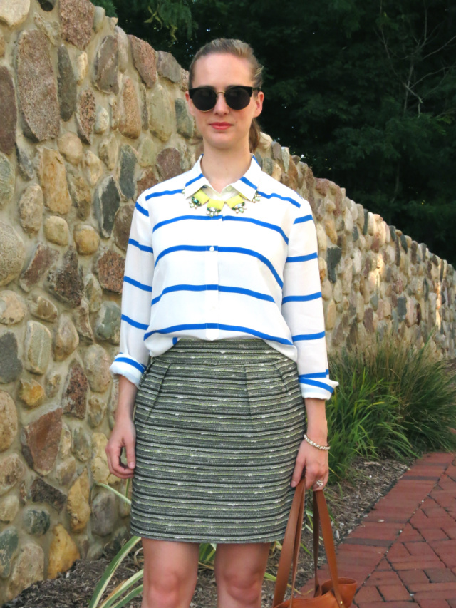 j crew silk stripe shirt, Target tweed skirt, Blu Bijoux statement necklace, Oasap sunglasses