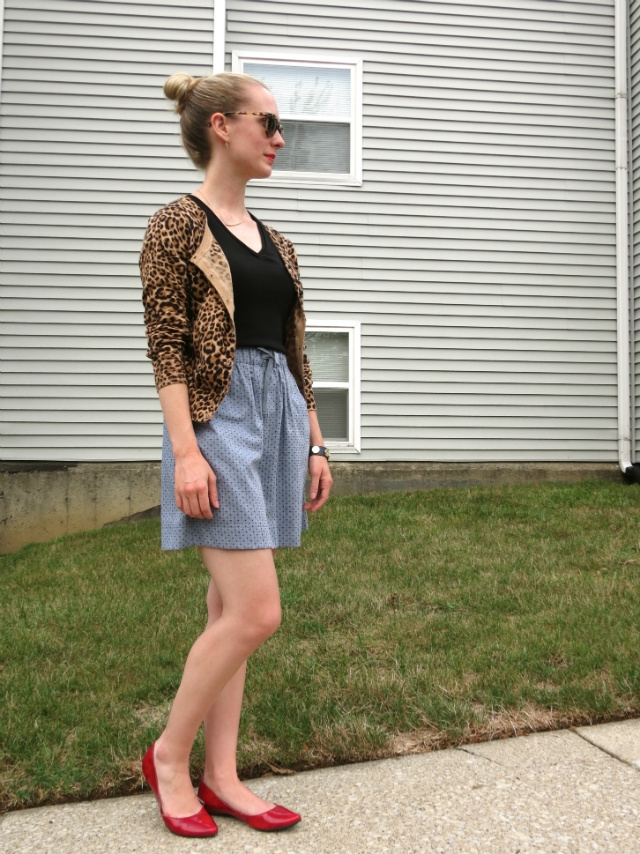 cara bracelet, H&M leopard cardigan, Target Merona chambray skirt, Nine West red flats