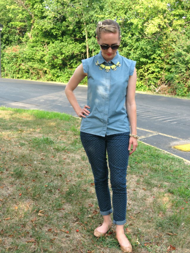 max and chloe statement necklace, kate spade saturday chambray, target polka dot jeans, h&m ballet flats, inside out french braid bun