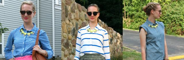 ways to wear statement necklace, statement necklace under collared shirt