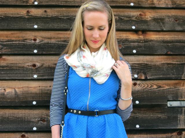 H&M shop online, fit and flare dress, H&M tube scarf, Olivia + Joy crossbody bag