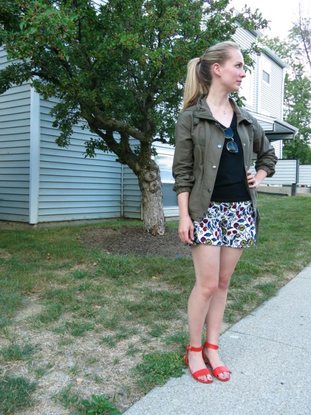 army jacket, utility jacket, anthropologie floral shorts, sandals