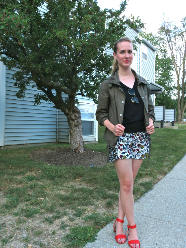 army jacket, utility jacket, anthropologie floral shorts, sandals, oasap sunglasses