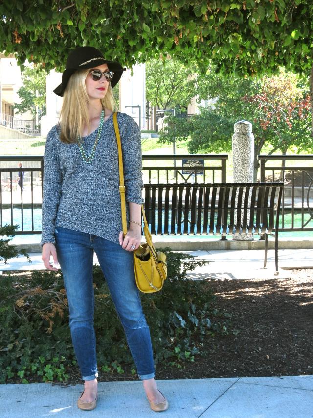 joe's jeans, anthropologie felt hat, fall hat, phillip lim target mini satchel, indianapolis fashion, indianapolis canal walk