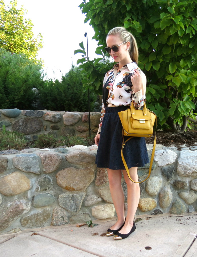 phillip lim for target yellow bag, phillip lim for target floral shirt, H&M cap toe flats, kate spade sunglasses