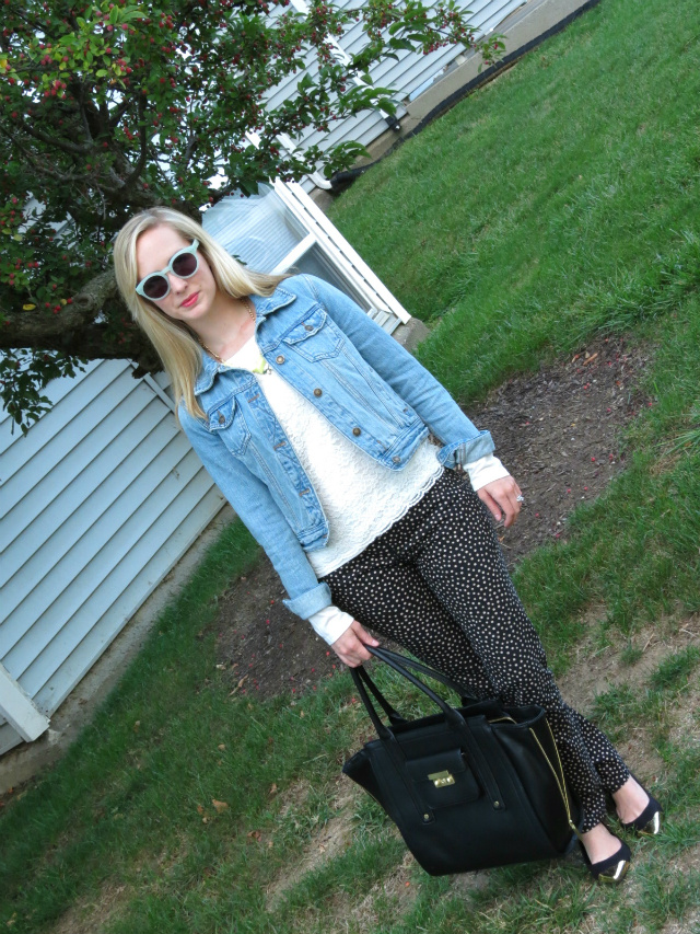 pinterest to real life outfit, jean jacket, ann taylor lace tee, printed pants, madewell hepcat sunglasses, phillip lim for target bag