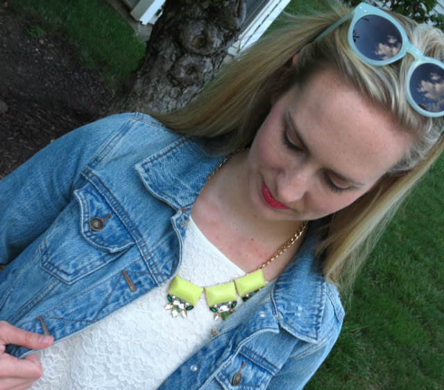 pinterest to real life outfit, jean jacket, ann taylor lace tee, printed pants, madewell hepcat sunglasses, max chloe blu bijoux necklace