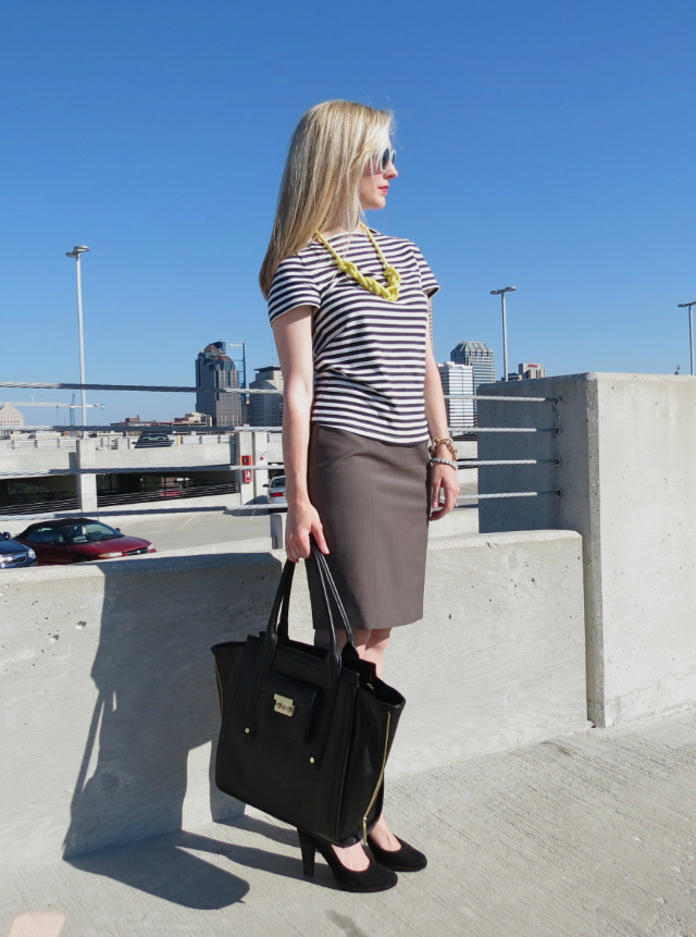 kate spade saturday stripe shirt, ann taylor pencil skirt, kate spade saturday rope necklace, business casual outfit, phillip lim target tote, indianapolis fashion