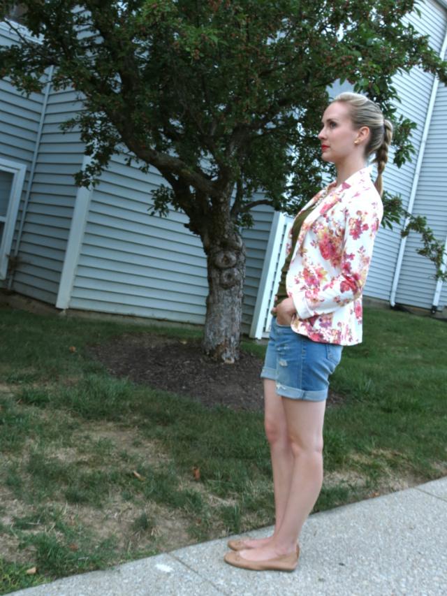 lauren conrad floral blazer, kut from the kloth shorts, h&m flats