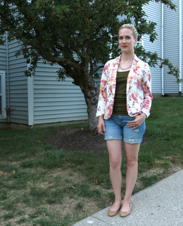 lauren conrad floral blazer, kut from the kloth shorts, h&m flats, j crew necklace