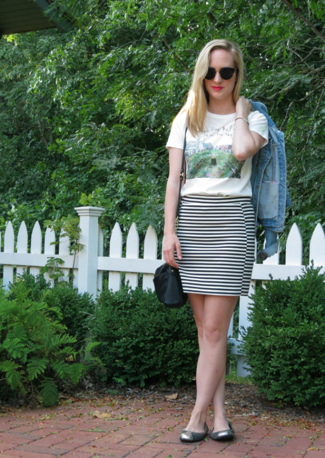 high line nyc, j crew high line shirt, madewell striped skirt, forever 21 jean jacket, oasap sunglasses, crossbody bag, indianapolis fashion blogger