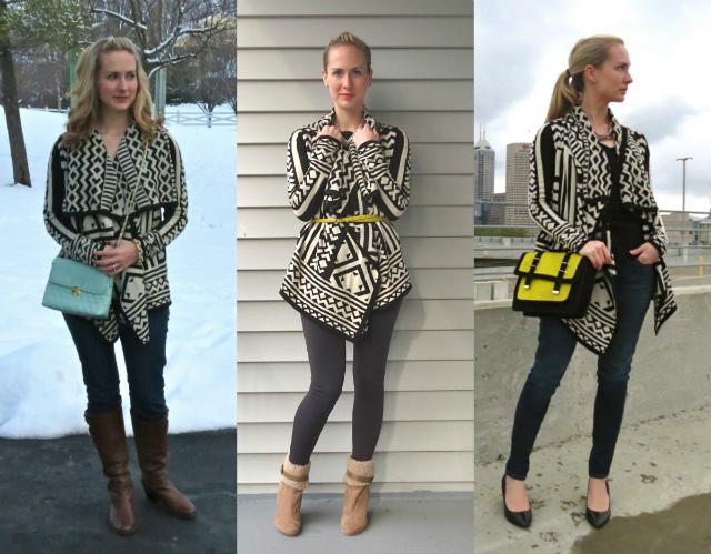 tribal cardigan, aztec print cardigan, asos satchel, american eagle jeggings, indianapolis style blogger