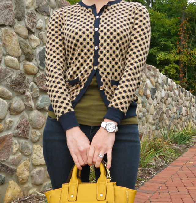 hunter boots outfit, law school style blog, ann taylor cardigan, phillip lim for target yellow satchel