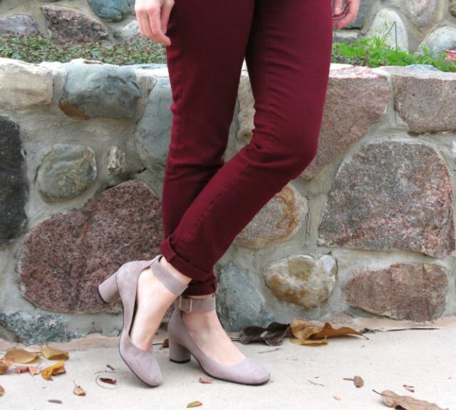 burgundy jeans, leopard cardigan, kohl's embellished collar shirt, nine west shoes, square toe shoes, j crew majesty peacoat, phillip lim target bag