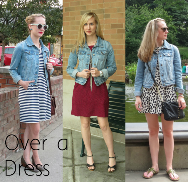 ways to wear a jean jacket, jean jacket over a dress, indianapolis fashion blogger