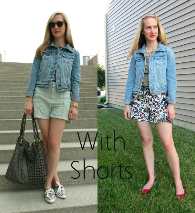 ways to wear a denim jacket, jean jacket with shorts, indianapolis fashion blogger
