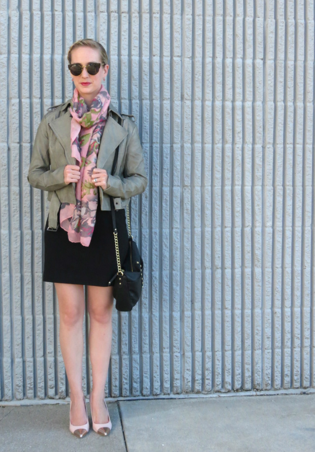 giveaway, indianapolis boutique, gray leather jacket, oasap sunglasses, anne klein cap toe pumps