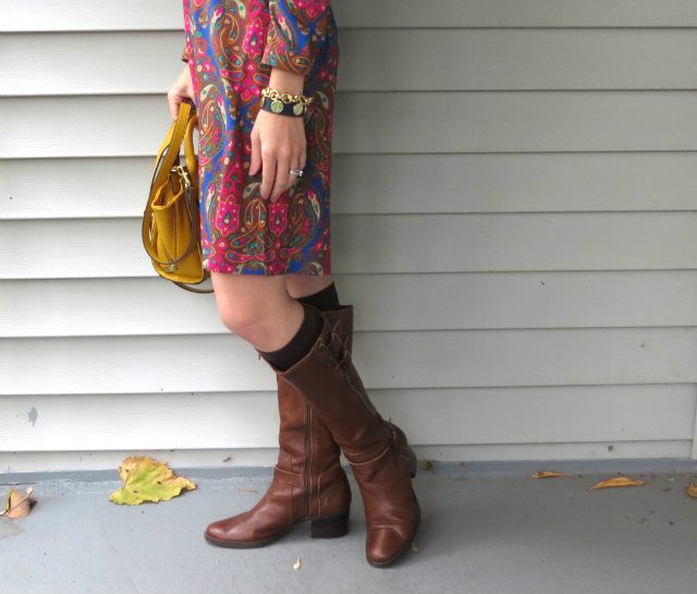 target paisley dress, phillip lim yellow satchel, equestrian boots, boots with socks, law school style