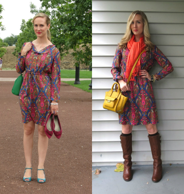 paisley dress, ways to wear a paisley dress