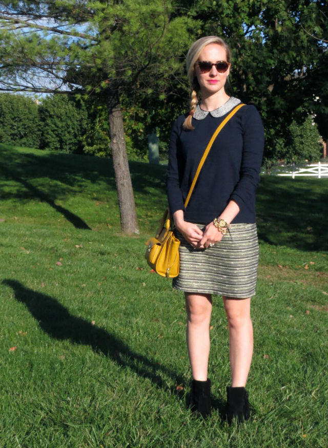 j crew peter pan collar, fringe ankle boots, ankle boots with skirt, indianapolis style blog