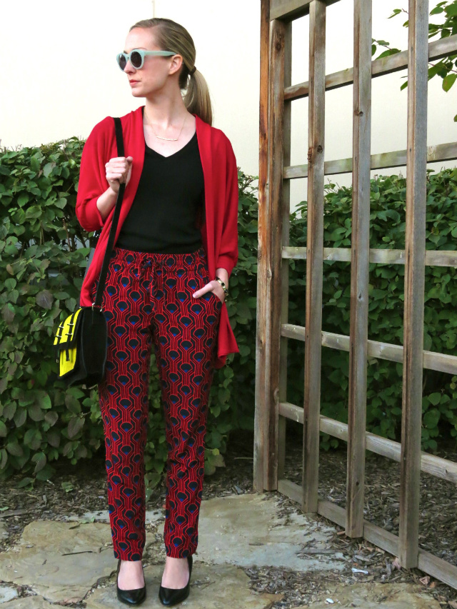 silky pants, patterned pants, asos satchel, nine west wedges, indianapolis style blogger