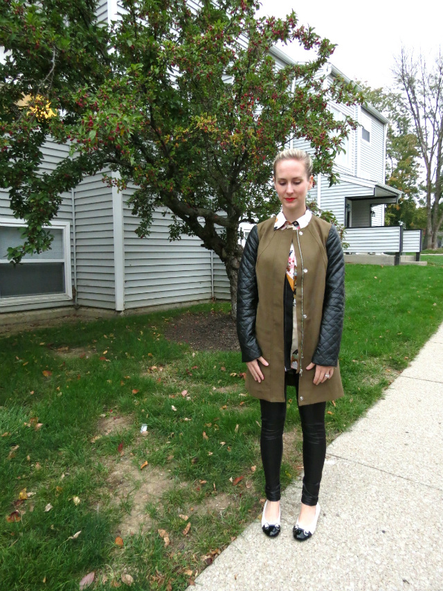 h&m leather sleeve trench, phillip lim for target shirt, faux leather leggings, braided updo, law school style blog