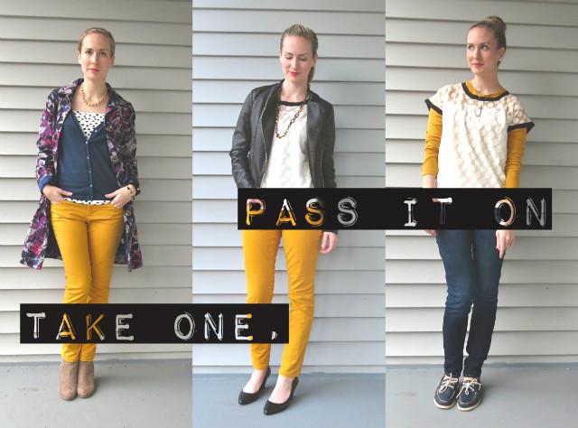 take one pass it on, wardrobe remix, wardrobe challenge, blog linkup, outfit linkup