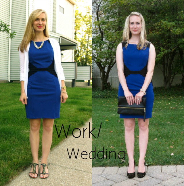 indianapolis boutique, wedding guest dress, anne klein studded pumps, h&m clutch