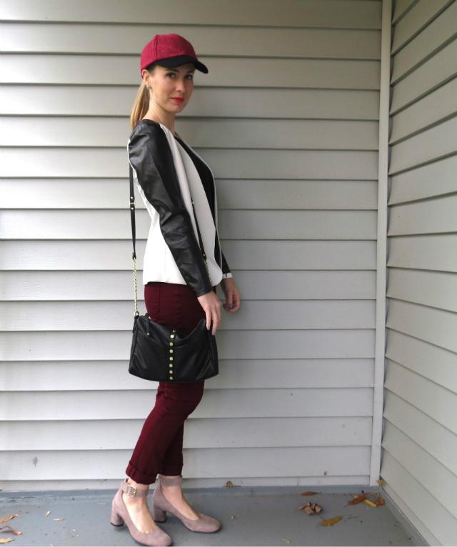 fashion baseball cap, baseball cap trend, leather sleeve blazer h&m, nine west pumps, anne klein watch, law school fashion blog