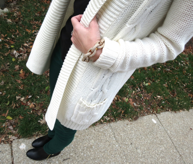 green skinny jeans, target cardigan, j crew necklace, skinny jeans and ankle boots