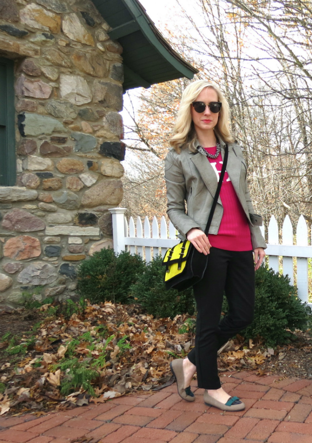 gray moto jacket, monogram sweater, asos satchel, plaid loafers, loopsway necklace, law school style