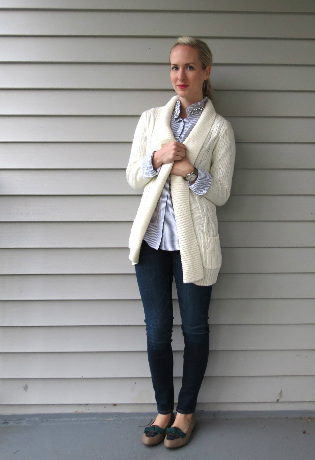kohl's embellished shirt, target cardigan, american eagle jeggings, timex weekender, plaid bow loafer flats, law school style, grad school style
