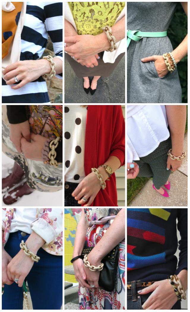 j. crew pave link bracelet review, adjust for small wrist, cheaper j crew pave link bracelet, j crew knockoffs, j crew dupes, chunky link bracelets