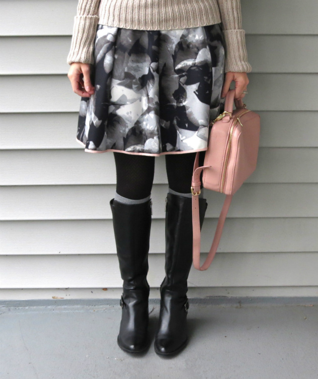 target floral skirt, forever 21 polka dot bag, calvin klein boots, law school style, socks over tights