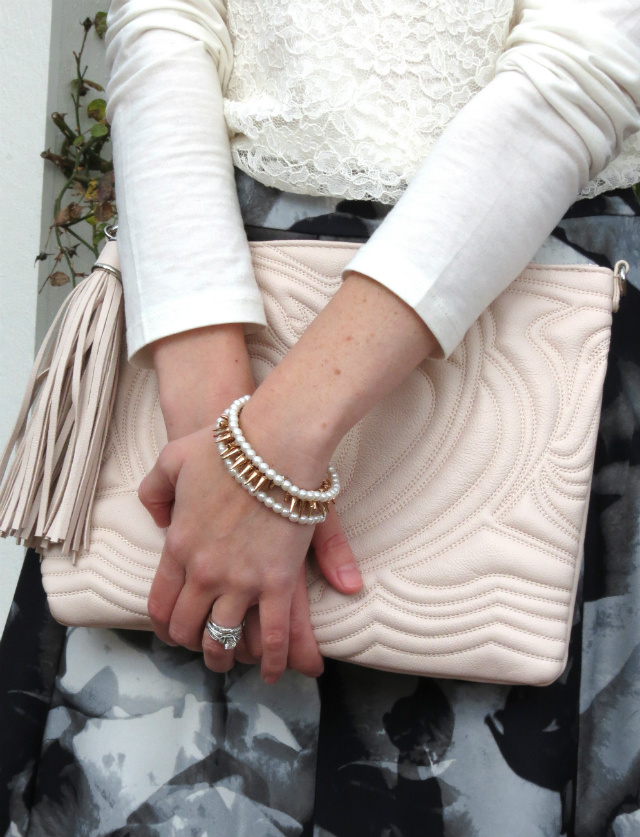 winter wedding guest attire, floral target skirt, rose gold, mod coat, h&m clutch, ann taylor lace shirt