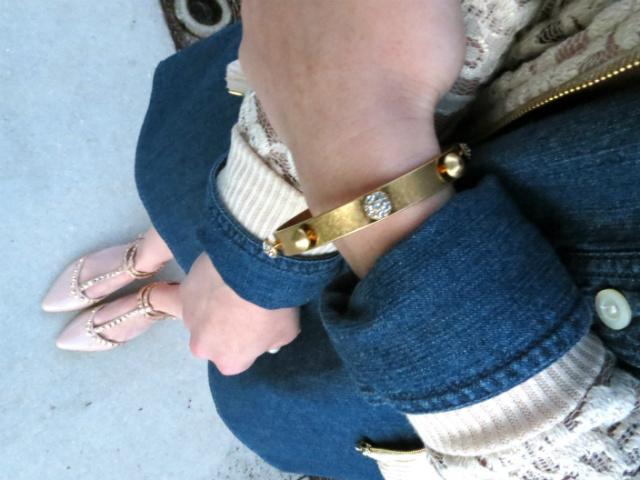 j crew chambray dress, lace bomber jacket, asos necklace, studded flats, kate spade sunglasses, madewell bracelet