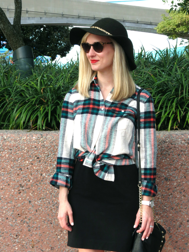 j crew plaid shirt, anthropologie felt hat, anne klein watch, knotted shirt over dress, christmas at epcot