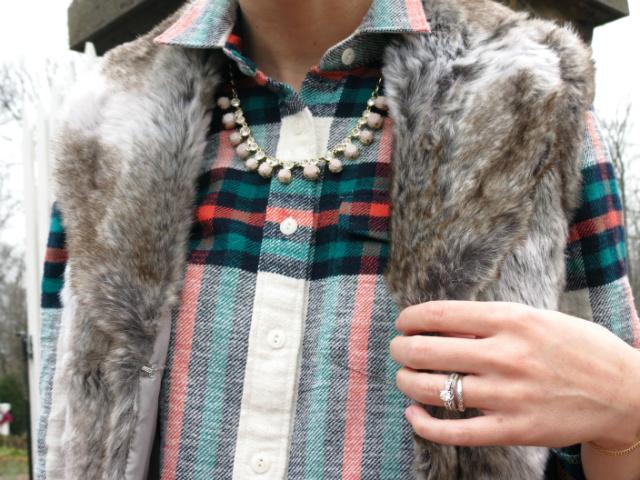 j crew rock salt flannel shirt, faux fur vest, phillip lim for target tote, asos bow bracelet, law school style, indianapolis style blog