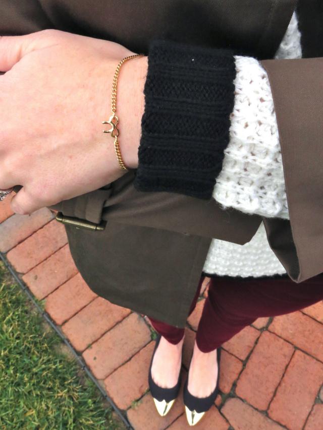 j crew houndstooth baseball cap, burgundy jeans, h&m cap toe flats, asos bow bracelet, revlon crush