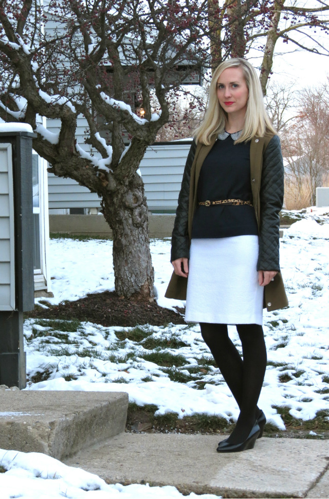 leather sleeve trench, peter pan collar, business casual outfit, law school style, madewell leopard belt, nine west wedges